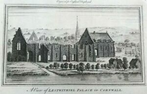 ANTIQUE PRINT CORNWALL VIEW OF LESTWITHIEL PALACE C1769 FROM ENGLAND DISPLAYED