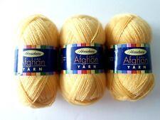 3 Skeins Herrschner's Afghan Yarn 0059 Buttercup Acrylic Fine 2 oz each yellow