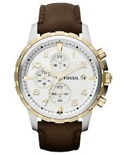 Fossil Men's Chronograph Dean Brown Leather Strap Watch 45mm FS4788