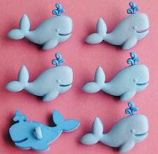 BLUE WHALES - Baby Boy Animals Sealife Ocean Novelty Dress It Up Craft Buttons