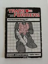 Vintage 1980s Transformers G1 Heroic Jump Starter TWIN TWIST Instruction Booklet