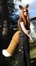 RUST RED FOX or WOLF EARS LARGE TAIL cosplay HALLOWEEN COSTUME fur adult KITSUNE
