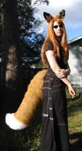 RUST RED FOX or WOLF EARS LARGE TAIL cosplay anime COSTUME fur adult KITSUNE