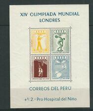 PERU 1948 WEMBLEY OLYMPICS souvenir sheet (Scott C81a) VF MNH