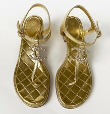 CHANEL GOLD QUILTED LEATHER PEARL CC LOGO SANDALS FLATS SHOES 40.5