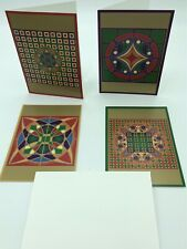 Frank Lloyd Wright Decorative Holiday Cards-Pomegranate. Set Of 4 With Envelopes