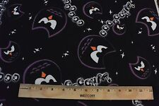 Black Owl Eyes & Whoooo Toss Allover Cotton Flannel Fabric BTY