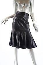 KARL LAGERFELD Vintage Black Softest Lamb Leather Flounced Skirt  Sz 38 US 2