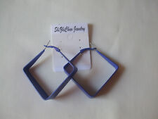 Square Matt Look Hoop Earrings Royal Blue New