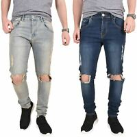 Mens Skinny Jeans Knee Ripped Azire Stretch Slim Fit Denim Cotton Trousers Pants