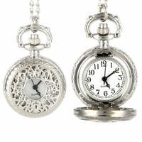 Vintage Quartz Pocket Watch Alloy Openable Hollow Flowers Chain Pendant Watch