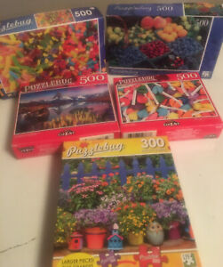 Lot Of 5 Puzzlebug Puzzles All Complete & 4-500 Pieces 1- 300 Pieces