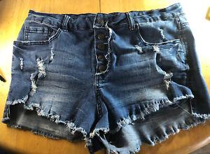 rue21 Juniors Button Fly High Waisted Denim Blue Jean Distressed Shorts 13/14