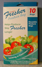 NEW! FRESHER PRODUCE STORAGE BAGS 10 Reusable Bags 5 Large & 5 Medium With Ties