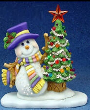 Ceramic Bisque Ready to Paint Snowman with Tree on Base electric included
