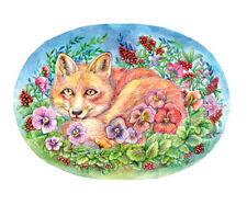 "Original Painting "" Fox and Pansies "" Animal Art 8x10 by Patricia"