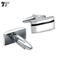 Top Quality T&T 316L Stainless Steel Black Stripe Cufflinks (CU30) NEW