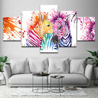 Watercolor Zebra Animals 5 piece HD Poster Art Wall Home Decor Canvas Print
