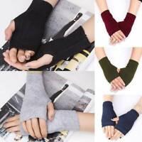 Unisex Men Women Knitted Fingerless Winter Gloves Soft Warm Mitten Solid Color