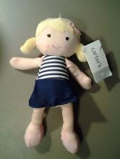 CARTER'S BLOND ROSY CHEEKS BABY GIRL PLUSH DOLL BLUE STRIPED DRESS NEW! Oshkosh