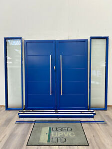 ORIGIN FRONT DOUBLE DOORS SIDELIGHTS BLUE FROSTED-LOW THRESHOLD-FRENCH-EXDISPLAY