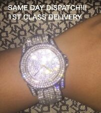 Silver Unisex Rhinestone Diamante Bling Sparkly Glitter Quartz Gift Wrist Watch