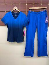 New listing New Royal Blue Print Scrubs Set With Koi Medium Top & Healing Hands Medium Pants