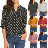 Women Polka Dot Long Sleeve Blouse Tops Casual Office Work V Neck T-Shirt 8754