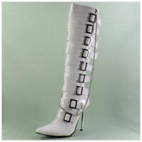 High Heels Stiefel Gr. 41 spitze Lackstiefel weiß mit Kette (#3374)