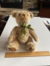Harrods Knightsbridge Teddy Bear Plush Brown Beige Green Ribbon Bow
