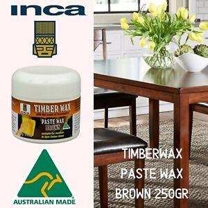 Inca Timberwax Paste Wax Beeswax Furniture Polish Brown 250gr