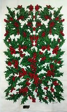 Kay Dee Pure Linen Hand Printed Christmas Holly Tea Towel Signed Marge French