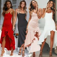 UK Women's Asymmetric Ruffle Sexy Party Dress Strappy Bodycon Slit Mermaid Dress