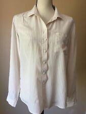 Fossil Ivory Pink Stripes Classic Office 100% silk button up shirt blouse M
