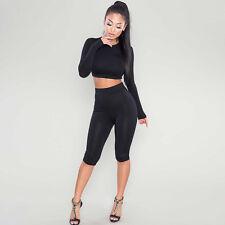 2PCS/Set Women Sports Suit Crop Top Pants Outfit Yoga Workout Clothes Tracksuit