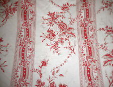 Vintage French Indienne Floral Garland Cotton Fabric ~ Persimmon Coral Red