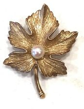 SOLID 14K YELLOW GOLD AND PEARL PIN BROOCH