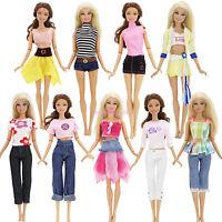 Menge 10Stk = 5 Set Outfit Top Hosen Rock Bademode Kleidung Für Barbie Puppe #D