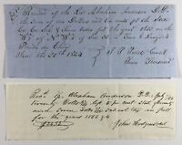 Two Tax Receipts of Rev Abraham Anderson DD For County State School 1853 1854