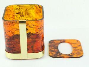 Vintage 70s 80s Lucite Acrylic Square Tissue Box Gold Amber Swirl Smoke Regency