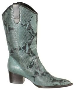 Robert Clergerie Womens Western Cowboy Boots Size 8M Green Snakeskin Leather