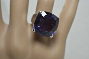 Princess Alexandrite 30ct Cushion Cut Ring Sz 4.25 Purple Blue Green