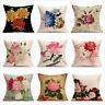 Retro Flower Peony Cotton Linen Cushion Cover Throw Pillow Case Sofa Home Decor