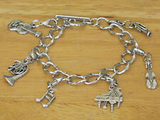 Music/Musician/Band Silver-Tone Charm Bracelet w/Instrument/Piano/Violin/Guitar+