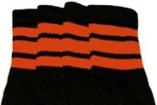 "22"" KNEE HIGH BLACK tube socks with ORANGE stripes style 1 (22-52)"