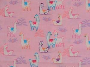 CRIB SHEET/FITTED/ COTTON - CUTE LLAMAS ON PINK
