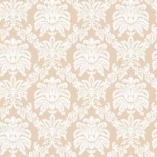 Wallpaper Designer Eggshell White Damask on Beige