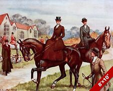 WOMEN'S FOX HUNT FASHION CLOTHING HORSE HUNTING ART PAINTING REAL CANVAS PRINT