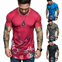 HOT Men T-Shirt Slim Fit Casual Tops Summer Clothes Muscle Thin Gym Tee Blouse