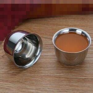 4pcs Stainless Steel Double Deck Cup 2 sizes For Tea Coffee Wine Liquor